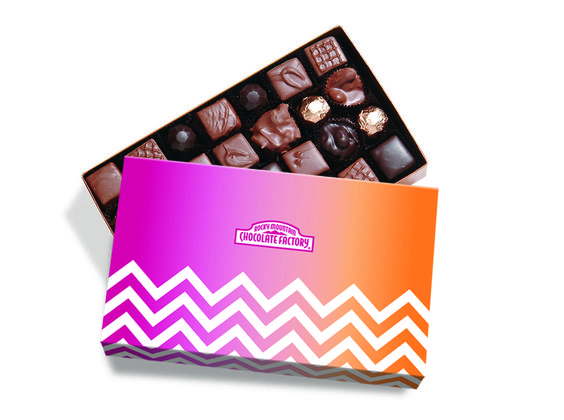 RMCF Nuts and Caramels Gift Box with spring themed sleeve. #chevron