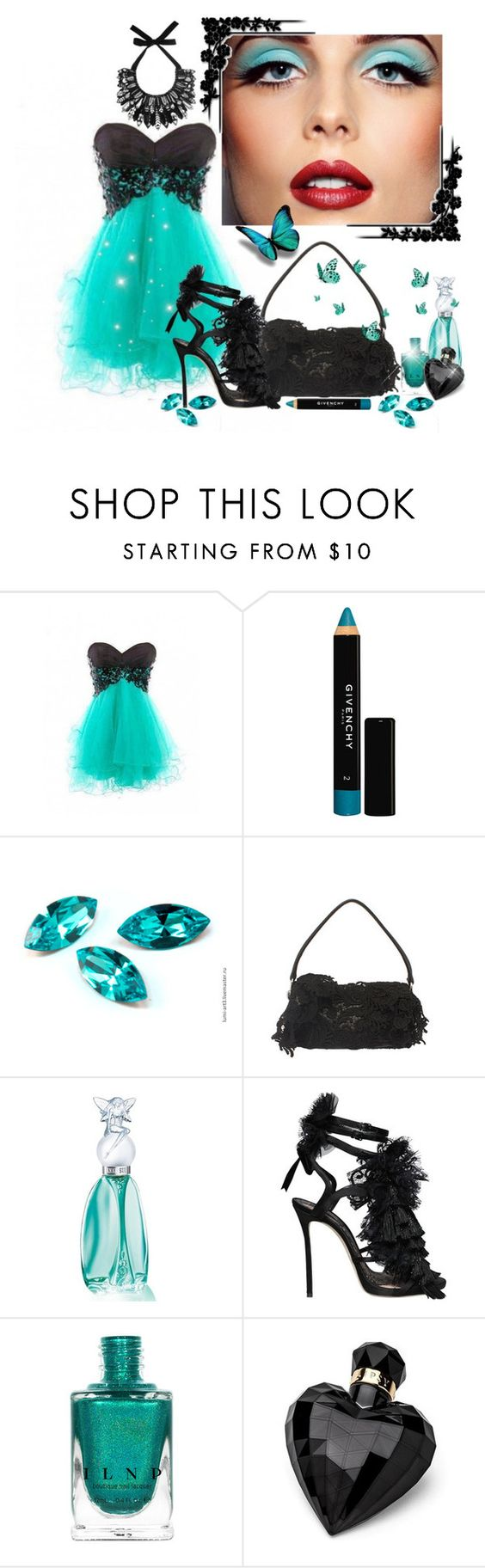 """Black Lace & Pretty Face"" by itsablingthing ❤ liked on Polyvore featuring Givenchy, Prada, Anna Sui, Dsquared2, Lipsy and Forest of Chintz"
