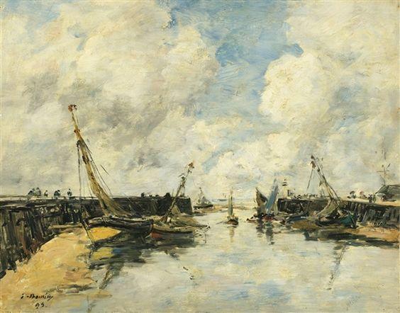 Eugène Louis Boudin, TROUVILLE. LES JETÉES. MARÉE BASSE