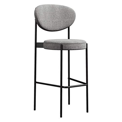 Height 25 6 29 5 Inch Stylish Barstool With Back High Chair Black Metal Legs And Soft Fabric Padded Seat Grey Heavy Duty Kitc Bar Stools Stool Metal Stool