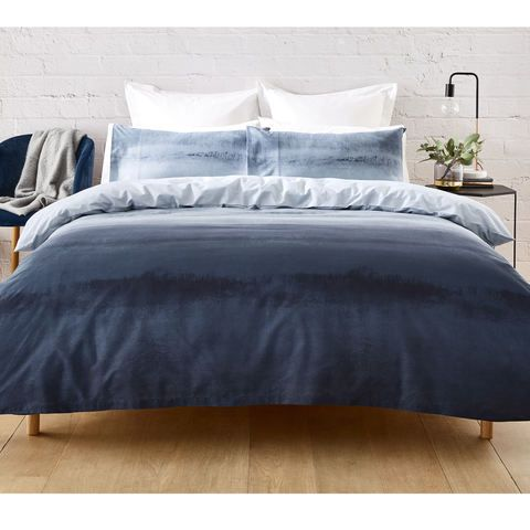 Ombre Reversible Quilt Cover Set Queen Bed Blue Quilt Cover
