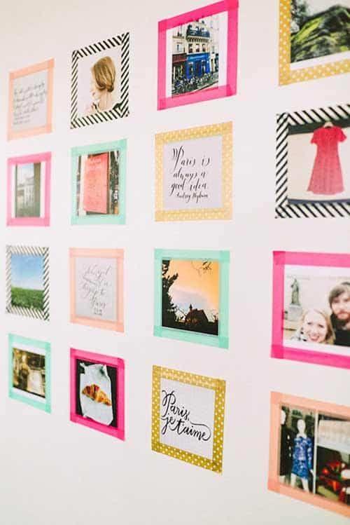 geen fotolijsten gebruiken aan je fotowand, maar washi tape