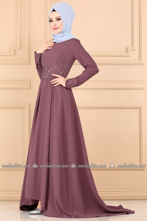 Modaselvim Abiye Tas Ve Incili Pileli Abiye 4159ay342 Gul Kurusu Long Sleeve Wedding Dress Lace Muslim Dress Soiree Dress