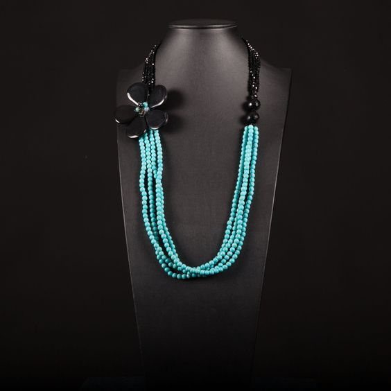 Necklace with 4 strands of turquoise, 4 strands of black onyx, black agate flower and silver clasp.Statement, multistrand, handmade,gemstone by Menir on Etsy