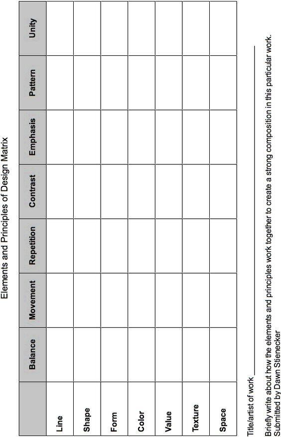 elements and principles chart - I have a sample of this filled out in my file cabinet