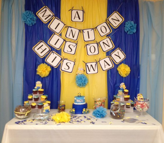 Minion baby shower  It was so fun getting creative with the minion idea and making it into a baby shower theme
