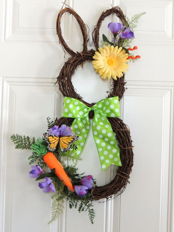 SUPER CUTE Large 26  Grapevine Easter Bunny by SparkleWithDesigns