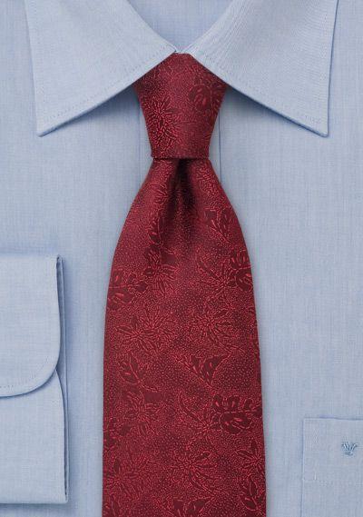 Krawatte dunkelrot mit Rankenmotiv