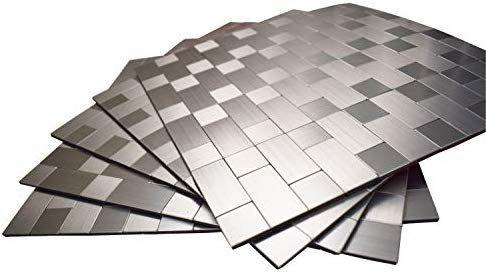 Amazon Com Gua Aluminum Peel And Stick Wall Tile Remodel Stick Tile Metal Backsplash For Kitchen Stick On Tiles Metallic Wall Tiles Stone Backsplash Kitchen