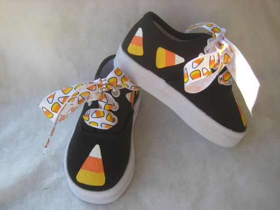 Candy Corn Shoes, Halloween Sneakers, Halloween Outfit, Halloween