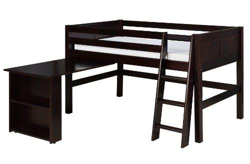 Solid Wood Loft Bed Panel Style Loft Bed,Side Angled Ladder