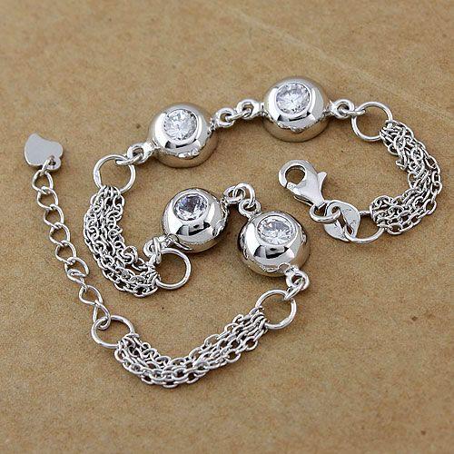 Fashion Four Gem-set Sterling Silver Bracelets