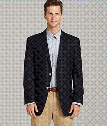Favorite look on a man. Navy blazer, chambray shirt, khaki pants