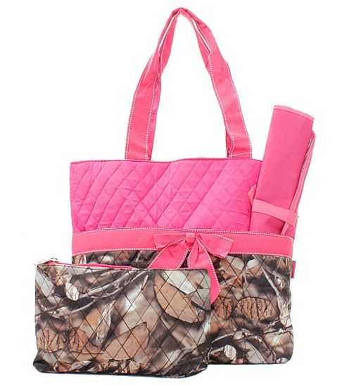 Hot Pink Camo Baby Girl Diaper Bag Set