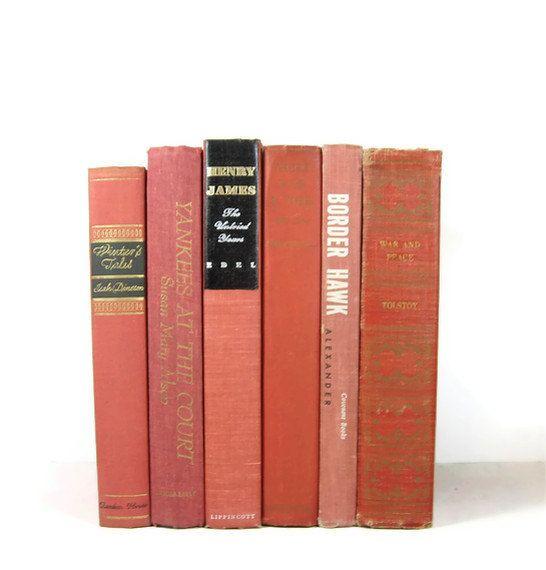 Salmon Peach Decorative Books Vintage