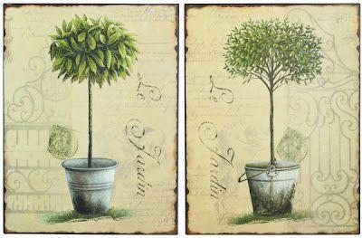 topiary prints on metal tins