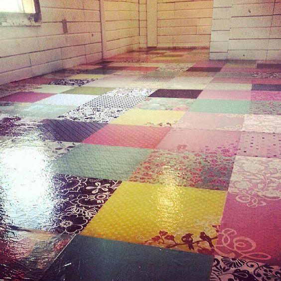 Awesome idea modge podge to glue to floor concrete might for Modge podge ideas