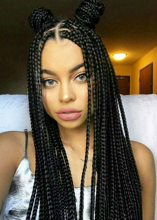 35 Best Black Braided Hairstyles For 2019 Blackhairstyles Braided Double Bun Half Updo Bes Single Braids Hairstyles Box Braids Hairstyles Braided Hairstyles
