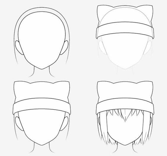 Từng bước vẽ nón tai mèo anime