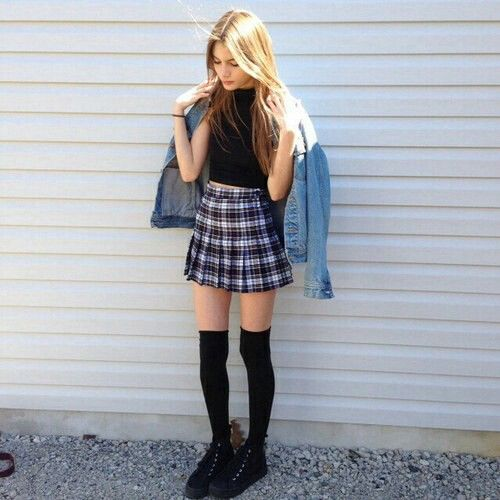 Grunge High Socks & skirt, with denim jacket, Such a cute outfit x