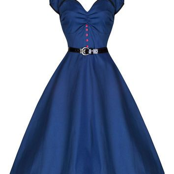 Blue Short Sleeve Button Belted Sheath Midi Tent Dress
