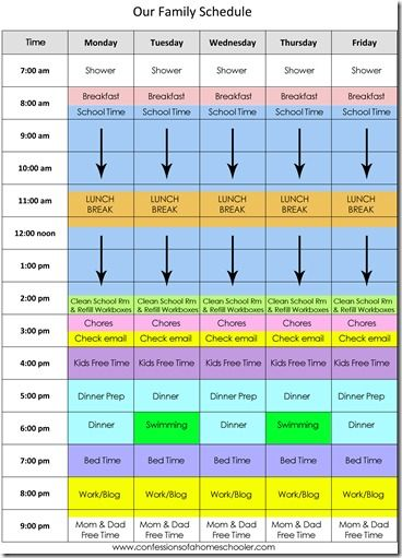 our daily homeschool schedule by erica over at confessions of a homeschooler homeschool. Black Bedroom Furniture Sets. Home Design Ideas