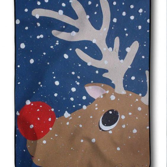 New Deer The Red Nose Custom Christmas Blanket
