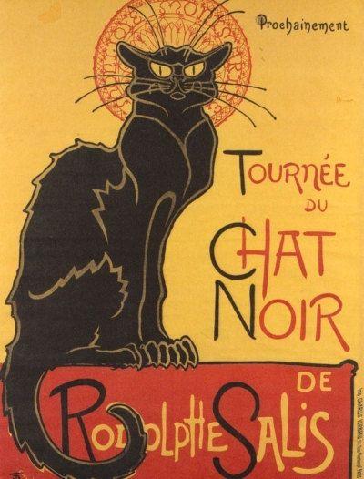 Print of ART NOUVEAU Cat Noir Poster Advertisement by famed artist Steinlen. $9.00, via Etsy.