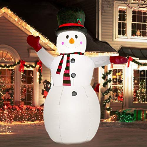 Yihong 8 Ft Christmas Inflatables Greeting Snowman With Inflatable Christmas Decorations Outdoor Inflatable Christmas Decorations Outdoor Christmas Decorations