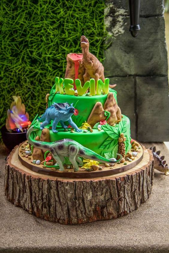 Wow!! Just look at this awesome Dinosaur Birthday cake! See more party ideaas at CatchMyParty.com
