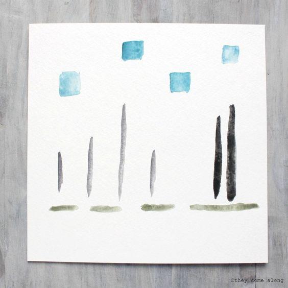 I'll Keep You Close 7 x 7 Watercolor Abstract Painting