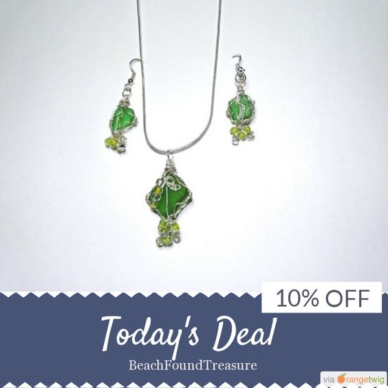 Today Only! 10% OFF this item.  Follow us on Pinterest to be the first to see our exciting Daily Deals. Today's Product: Sale -  2017 gifts for her - Anniversary gift - Wire Wrap - Beads - Silver - Green Beach Glass - St Patricks Day Gift - Necklace - drop earr Buy now: https://www.etsy.com/listing/495652544?utm_source=Pinterest&utm_medium=Orangetwig_Marketing&utm_campaign=Valentines%20Day%20Is%20Almost%20Here!!!   #etsy #etsyseller #etsyshop #etsylove #etsyfinds #etsygifts…