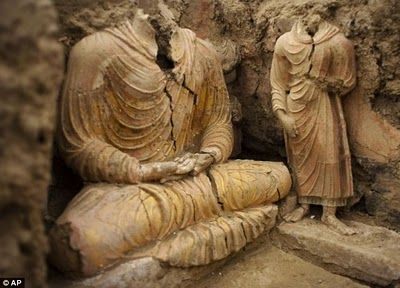 Chinese company mining for copper unearthed a Buddhist monasteri in at Mes Aynak, south of Kabul, Afghanistan.: