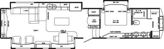 Floor Plans Elite Suites Drv Floor Plans Rv Floor Plans Luxury Fifth Wheel