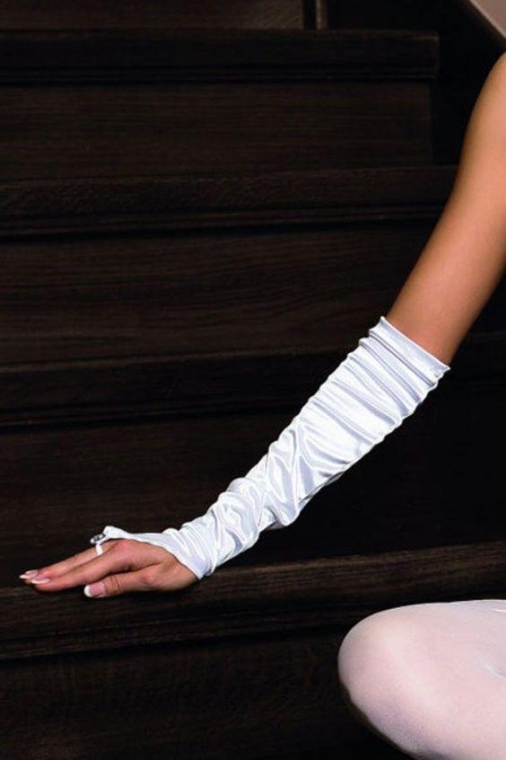 Paire de gants blanc mariage satiné ROZA FROSA