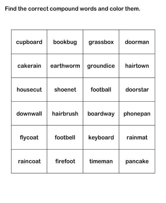 Compound Words Worksheet 11 eslefl Worksheets kindergarten – Compound Words Worksheets for Kindergarten