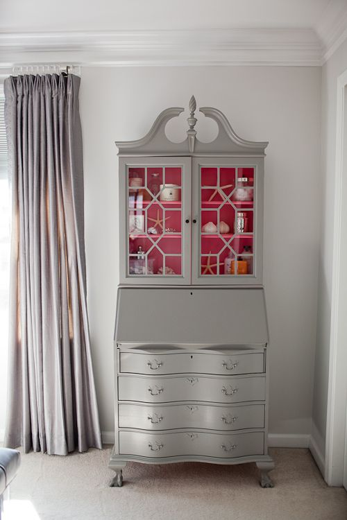 DIY Painted Secretary's desk.  The interior is Autumn Red by Benjamin Moore and the exterior is Blackthorn by Duron.