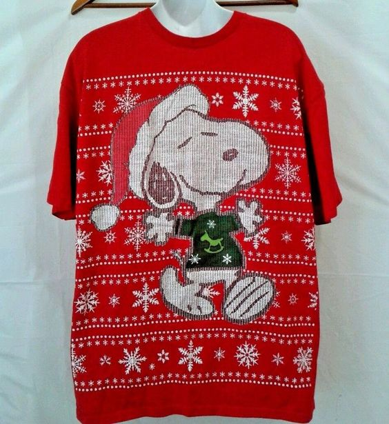 Details about Snoopy Peanuts Holiday Christmas T Shirt XL ...