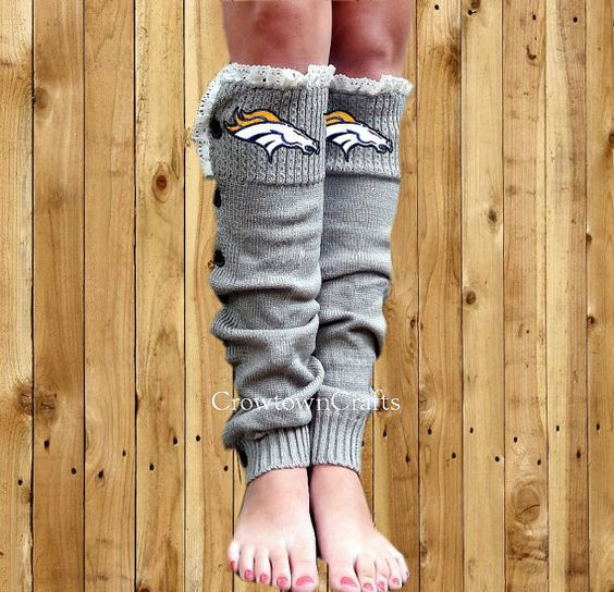 Denver Broncos Leg Warmers Boot Cuffs Boot Socks by CrowtownCrafts