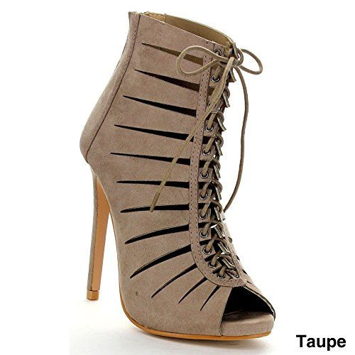 Bella Marie Vanesa-15 Women Sexy High Stiletto Heel Cut Out Lace Up Cage Bootie