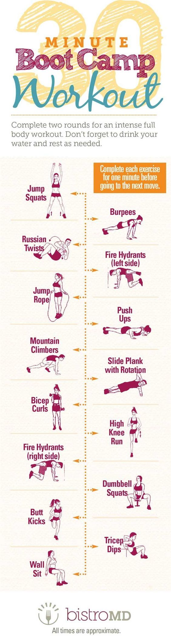 30-Minute Boot Camp Workout | 14 Best Fitness Workouts for Head to Toe Toning, check it out at makeuptutorials.c...