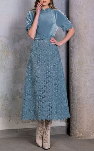 This **Luisa Beccaria** dress features a velvet bodice and a broderie anglaise skirt.