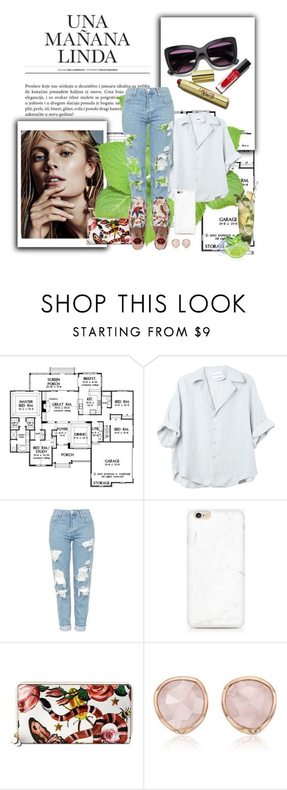 """..."" by lucyjanooosh ❤ liked on Polyvore featuring Topshop, Gucci, Monica Vinader and Margarita"