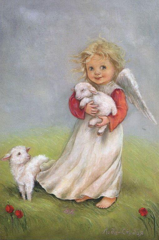"""Серия """"Ангелы"""" - Ангел с овечками:"""
