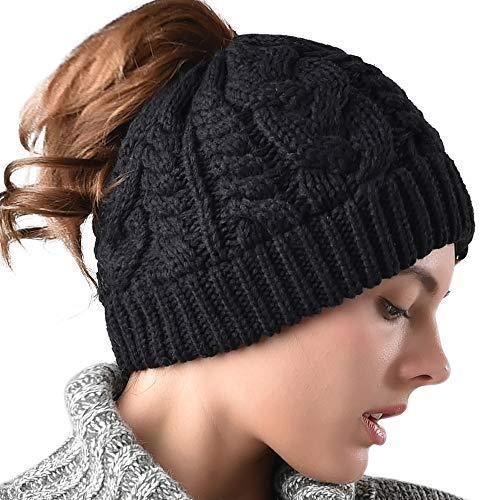 Skull Hat High Ponytail Messy Warm Winter Bun Knitted Women Beanie Stretchy Cap