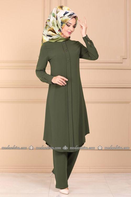 Modaselvim Kombin Dugme Detay Ikili Tesettur Takim Pl925 Haki Moda Kiyafetler Gomlek Elbise Moda