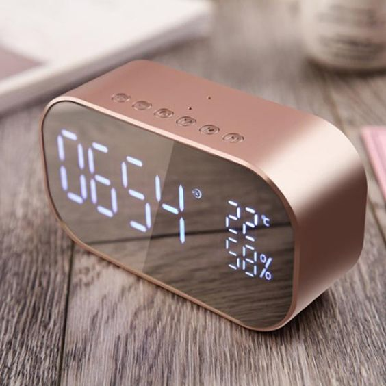 Digital LED Mirror Alarm Clock with FM Radio and Wireless Bluetooth