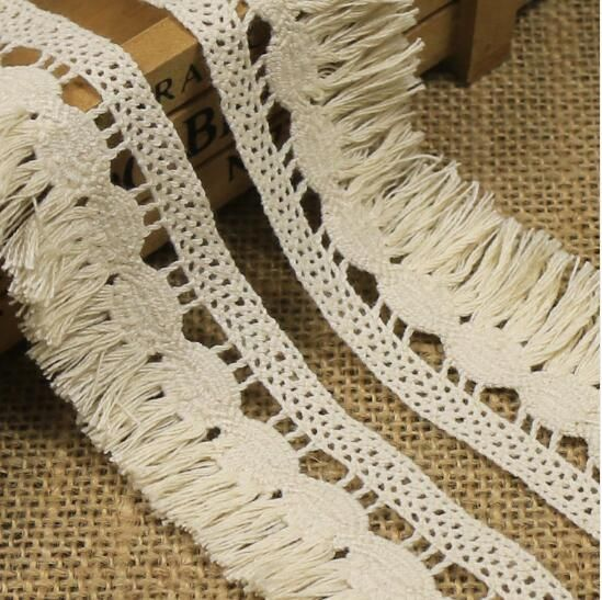 3Yards Cotton Sewing Lace Decoration Fringe Beige Tassel Trimmings Handcraft