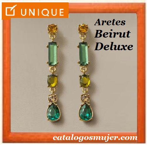 Aretes BEIRUT DELUXE Baño en Oro 24k con cristales celestes , topazio  y verdes  de alta bijouterie 60%*Precio Oferta S/.59.90