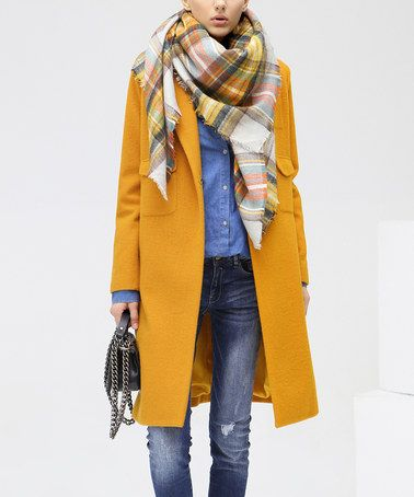 statement coats yellow coat plaid scarf